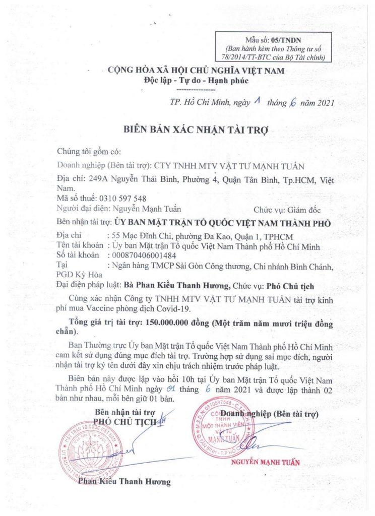 Công ty TNHH MTV Mạnh Tuấn luôn ý thức được trách nhiệm với cộng đồng và xã hội